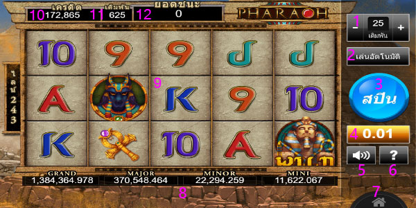 How to Use Menus and buttons pharaoh slot